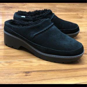 Ugg Lane Black Sheepskin Lined Slip On Loafers